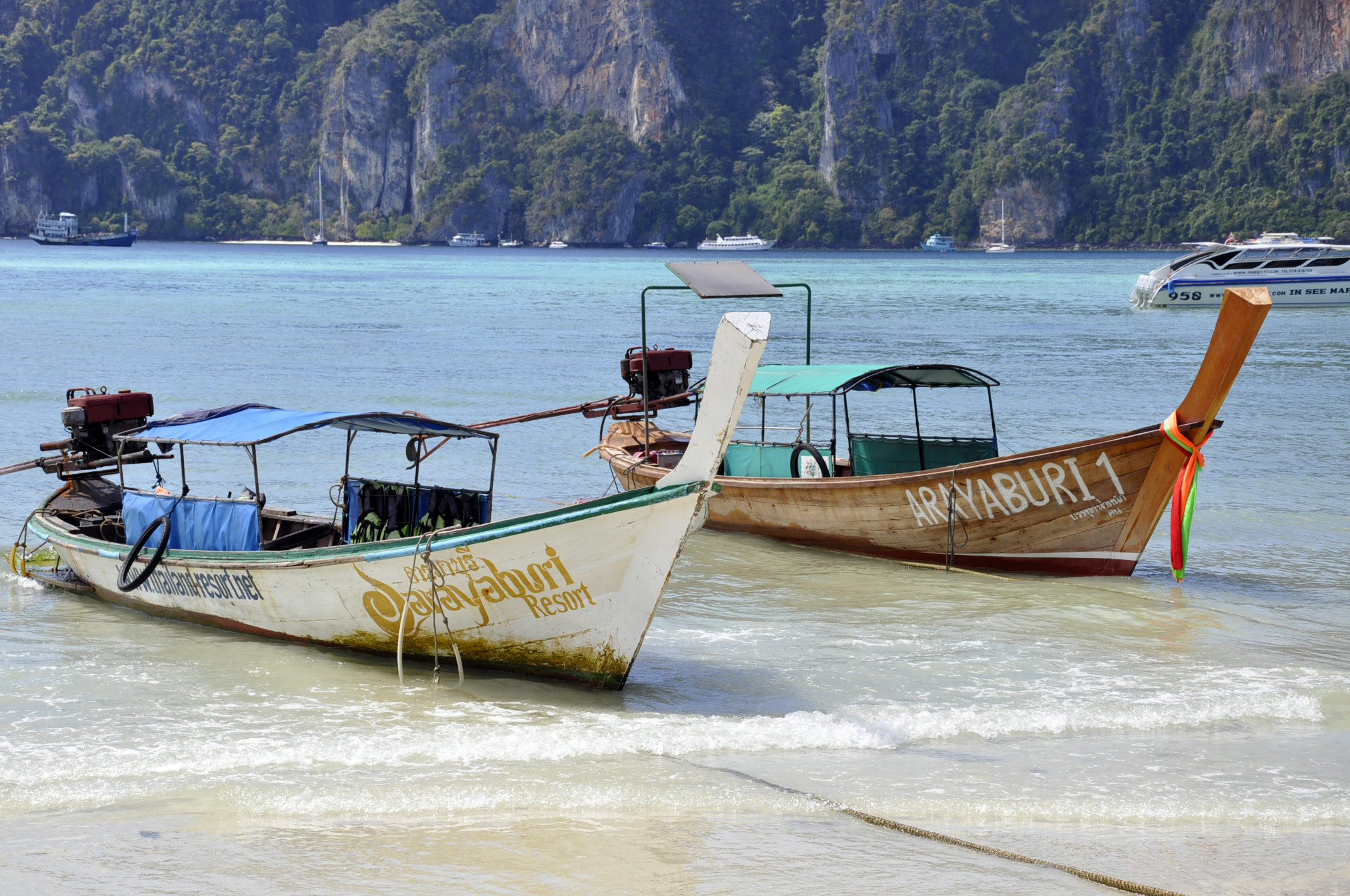 long tail boats on koh phi phi