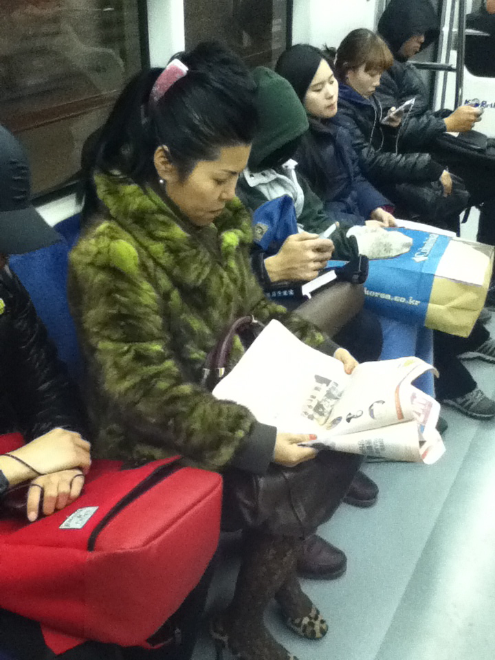 furry coat on subway in korea